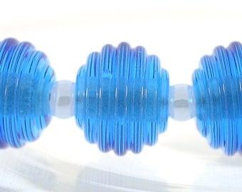 Lampwork beads, Handmade Glass Aquamarine ribbed round lampwork beads, Made to Order, Bims Bangles, transparent blue ribbed lampwork beads