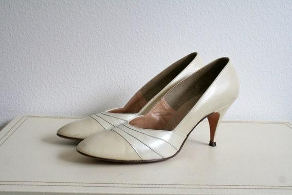 1960s heels / cream leather /  Chapel Bound heel