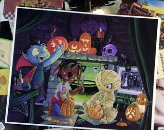 Pumpkin Party - 8 x 10 inch Archival Digital Print - Monster Children Carving Pumpkins