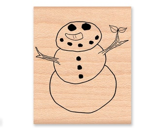 SNOWMAN RUBBER STAMP~Winter Snowman~Spring Snowman~Christmas or Holiday Stamp~Card Making~Mountainside Crafts (03-01)
