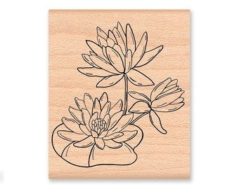 Water Lily Rubber Stamp~Lily Pad~Water Flower~Summer Pond~wood mounted rubber stamp (04-01)
