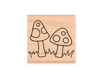 POLKA DOT TOADSTOOLS - pair - wood mounted rubber stamp (mcrs 03-20)