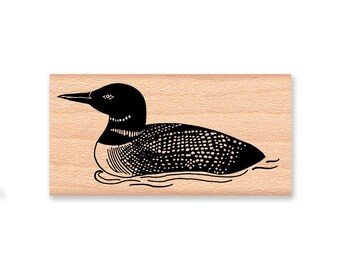 COMMON LOON - LARGE - wood mounted rubber stamp (mcrs 05-04)