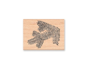 PINE BRANCH Rubber Stamp~pine fir bough~pine tree~pinecone~forest~Christmas~Holiday~card making~art~handmade~ wood mounted rubber (05-11)