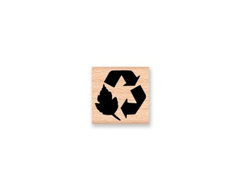 RECYCLE SYMBOL - SMALL - wood mounted rubber stamp (mcrs 05-05)