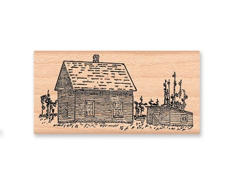 RUBBER STAMP Farm House Stamp Set of two Old Homestead and Pine Tree country home farmstead evergreen rustic wood mounted(11-09 & 11-10)