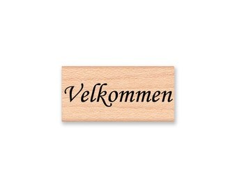 VELKOMMEN (Welcome) - Wood Mounted Rubber Stamp (mcrs 10-21)