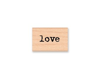 love rubber stamp~word~sentiment~saying~wedding~valentine~type font~rustic wedding stamp~wood mounted stamp~Mountainside Crafts (13-30)