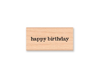 happy birthday -Vintage Font -  Wood Mounted Rubber Stamp(14-30)