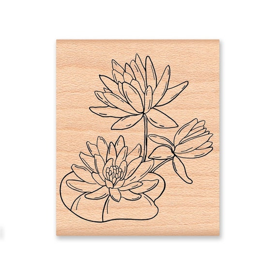 WATER LILY - wood mounted rubber stamp (mcrs 04-01)