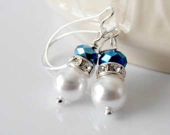 Bridesmaid Jewelry, White Pearl Earrings with Navy Blue Crystals, Nautical Weddings, Beaded Jewelry, Pearl Bridesmaid Earrings, Silver