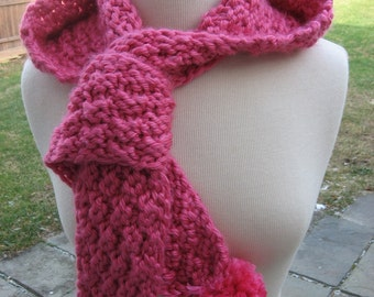 Knitting Pattern, Hometown Hooded Pom Pom scarf, Instant pdf pattern download available