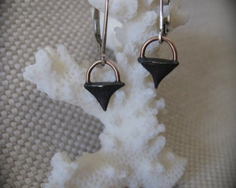 Black Solid Silver Rose Thorn Earrings Accentuated with 14K Solid Rose Gold
