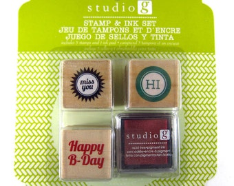 SALE was 4.50 - Happy B-Day, Miss You, HI - Set of 3 Stamps with Ink Pad Rubber Stamps - Packaging, Invitations, Party, Favors, Wedding Gift