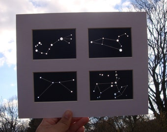 Customizable Framed & Matted Family Zodiac Aceos - Shadow Constellations Window Sun Catcher - Celestial Collection DDOTS