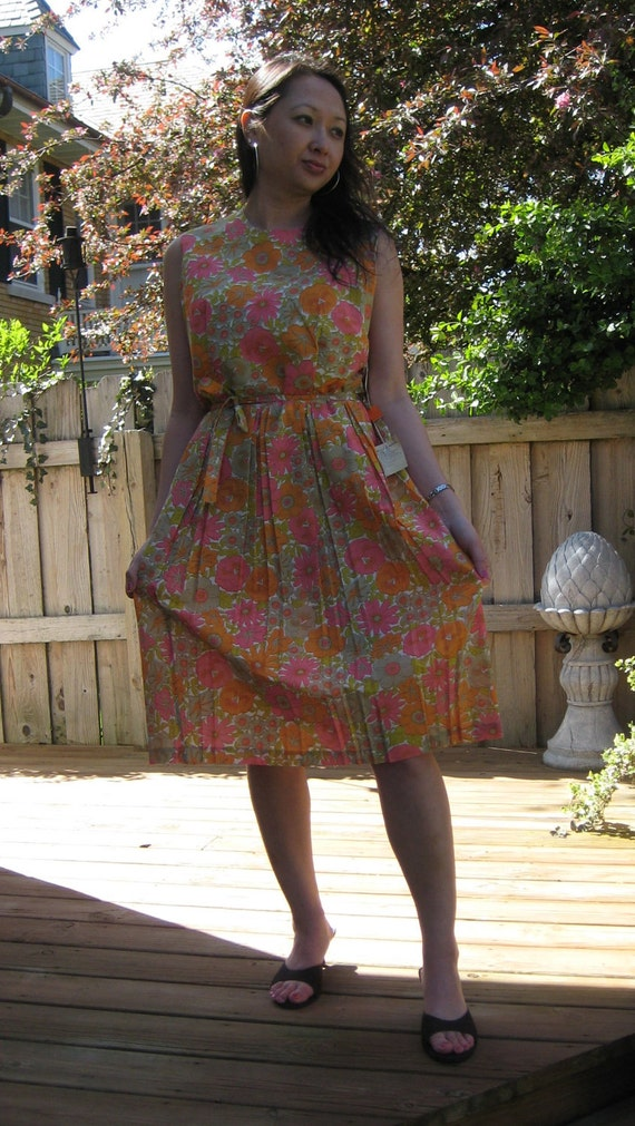 Vintage day dress 50's 60's bright pink and orange deadstock NWT L ON SALE