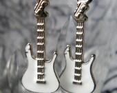 Rockstar - White Guitar Earrings