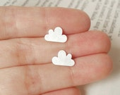 lucky happy cloud earring studs, fluffy cloud in sterling silver (size small), handmade in England