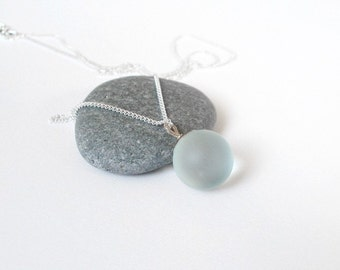 frosted glass and sterling silver necklace (limited edition, only 2 left)