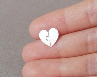 Jigsaw Puzzle Sweet Heart Earring Studs In Sterling Silver, Heart Shape Earring Studs Handmade In UK