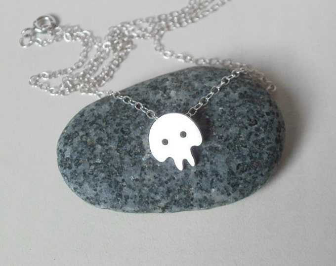 Skull Necklace, Gothic Necklace, Cute Skull Necklace In Sterling Silver Handmade