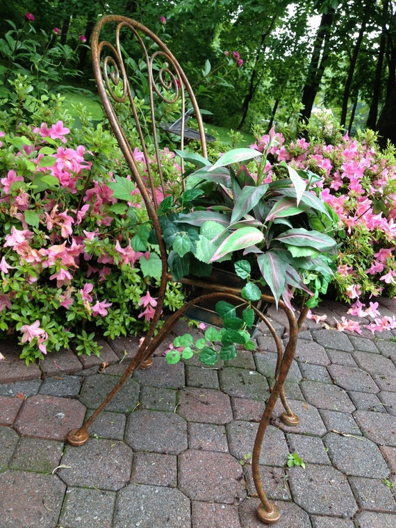 Chair Planter, Hand Painted Metal, Faux Aged Copper