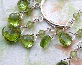 Peridot Chandelier Earrings, Green Gemstone, Sterling Silver, Handmade Jewelry, August Birthday Birthstone New Years Eve