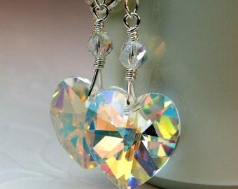Crystal Heart Earrings, Clear Swarovski Crystal Earrings, Dangle, Sterling Silver, Valentines Day Jewelry, Handmade Gift