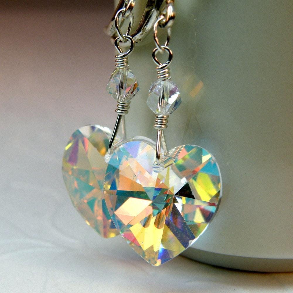 Crystal Heart Earrings Clear Swarovski Crystal Earrings