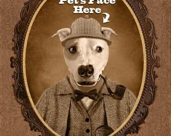 Custom Vintage Image of Your Pet, Custom Pet Portrait, Gift for Pet Lover, Perfect Gift Dog Lover/Cat Lover, Funny Gift,  Cat Dog Portrait,
