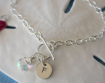Personalized Initial Bracelet, Birthstone Bracelet, Gemstone Sterling Silver Bracelet, Monogram Bracelet