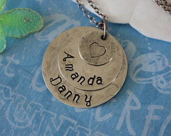 Mother Necklace Personalized, Brushed Charms Sterling Silver