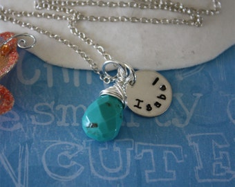 Mom Necklace Personalized, Turquoise Necklace, Sterling Silver Tiny Charm