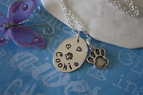 Pet Necklace Personalized,  Animal Custom Charm, Name Charm, Sterling Silver, Paw Charm