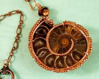 WireWrapped Ammonite Necklace