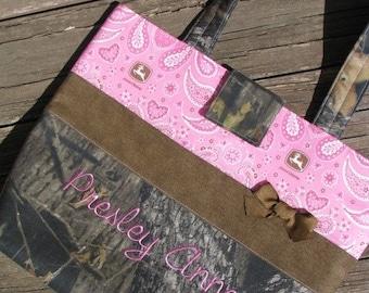 Mossy Oak Breakup Camo Pink Paisley John Deere Personalized Diaper Bag Tote