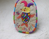 """Hand Embroidery Wall Art, Big Brooch, Pin for Coat, Scarf, Bag  - """"Clown Fish"""""""