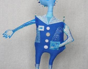 "Fiber Art Doll  ""Akvo"" hand embroidered textile sculpture. Hand embroidery. Fiber Art. Soft Sculpture. Naive Art. Blue sculpture. Fantasy."