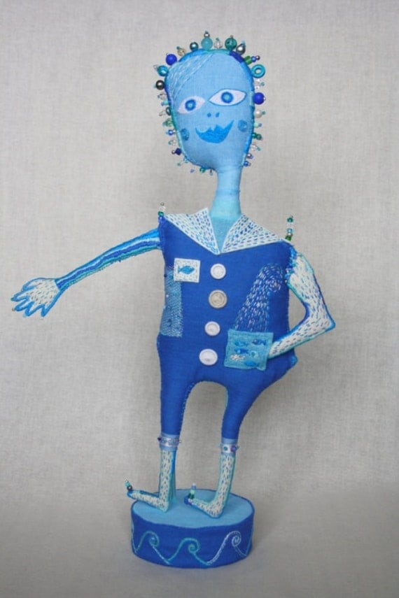 "Fiber Art Doll  ""Akvo"" hand embroidered textile sculpture. Hand embroidery. Fiber Art. Soft Sculpture. Naive Art. Blue sculpture. Fantasy."