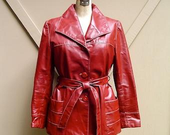 70s Burgundy Leather Coat