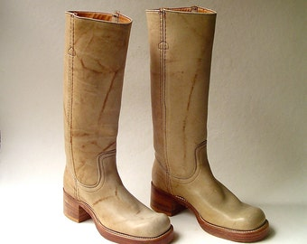70s vintage Frye Banana Leather Campus Boots NOS