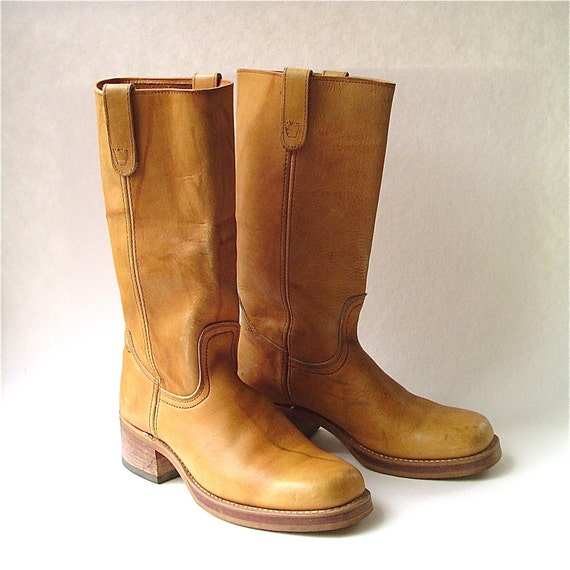 vintage Distressed Caramel Brown Leather Campus Boots