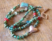 Turquoise, Silver and Natural Coral Necklace