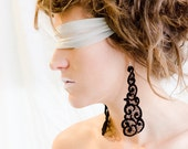 Lace earrings - Clouds - Black lace