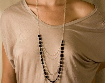 Lace necklace - Multichain - Black or white lace with silver chains