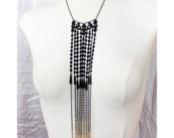 Lace necklace - Gold dipped - Black lace with chain gradient