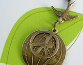 Vintage Pendant - Peace Sign - Vintage Brass Stamping for Necklace - Handmade Jewelry