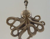 Octopus - Pendant - Vintage Brass - Large for Necklace - Handmade