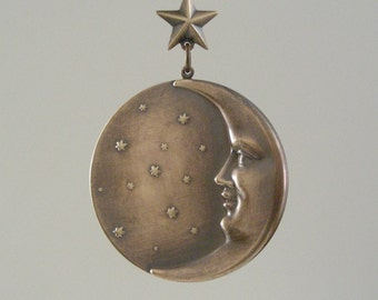 Statement Pendant MOON and STAR Vintage Brass Large for DIY Necklace Focal Bead