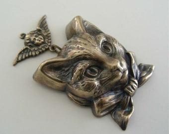 Vintage Pendant - Cat Pendant - Angel Kitty Necklace  - Large Pendant - DIY Necklace - Handmade